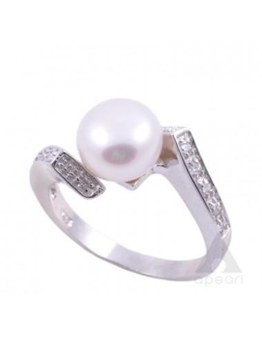 Srebrny pierścionek z perłą Biwa R136ACZS