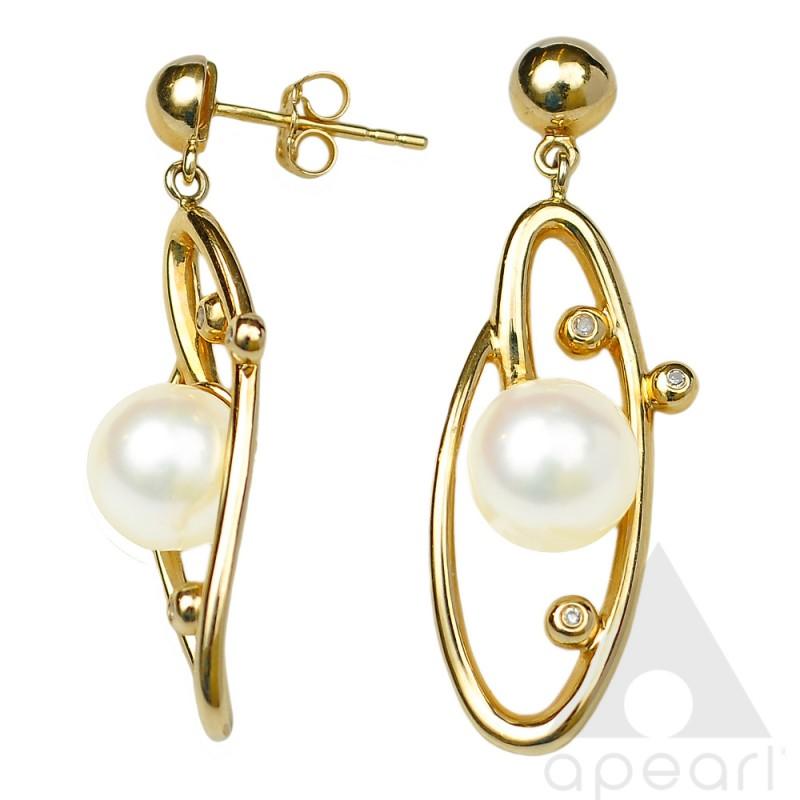 Złote kolczyki z perłą Akoya