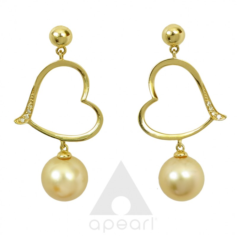 Złote kolczyki z perłami South Sea