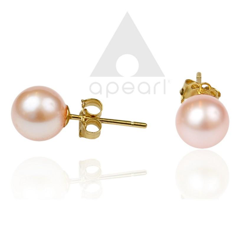 Złote kolczyki z perłami Biwa
