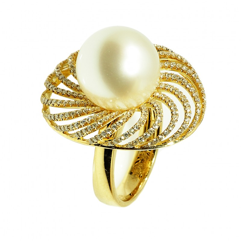 Złoty pierścionek z perłą South Sea